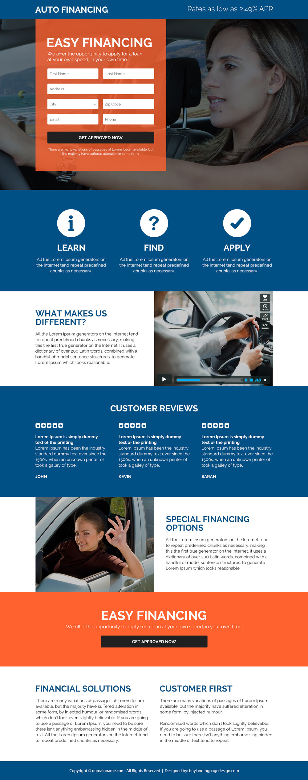 auto financing solutions landing page design