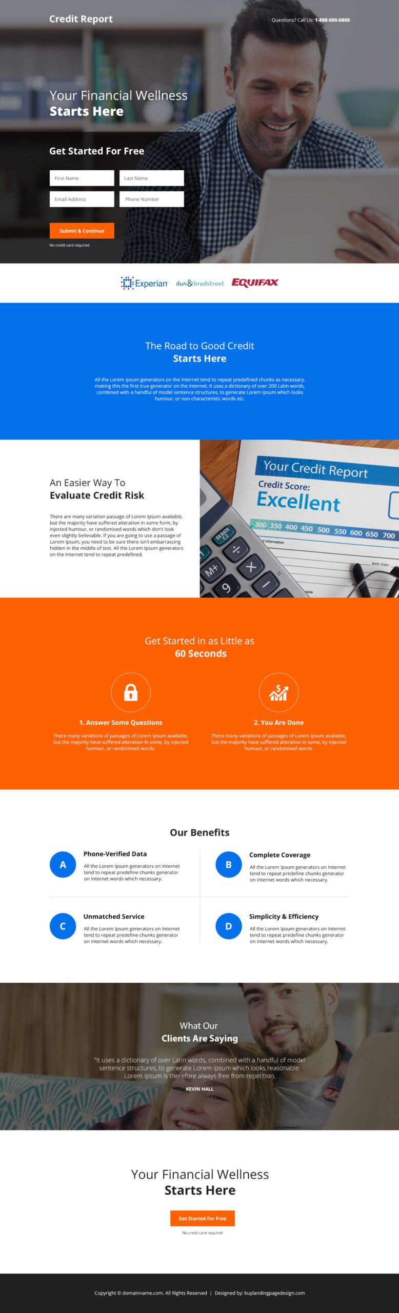 Credit reporting agencies responsive landing page
