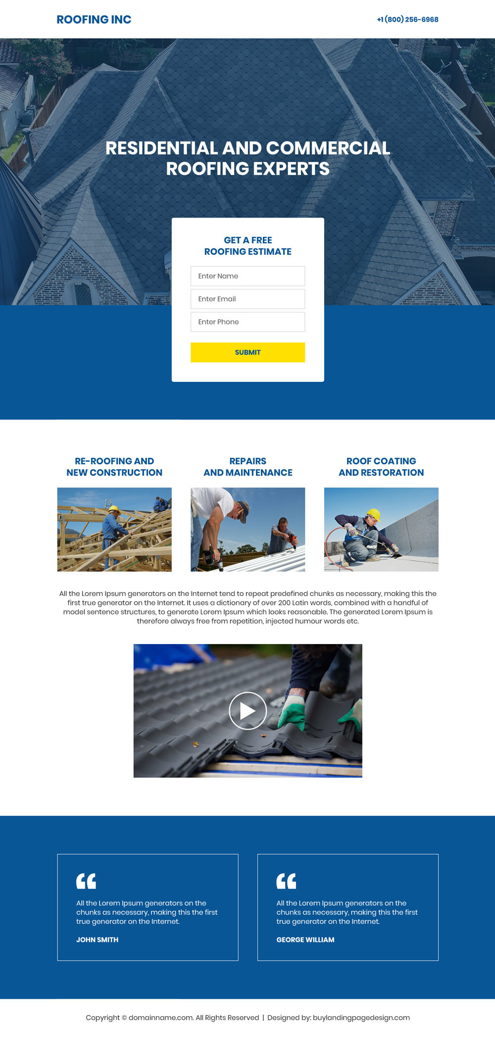 Residential and commercial roofing experts free estimate landing page