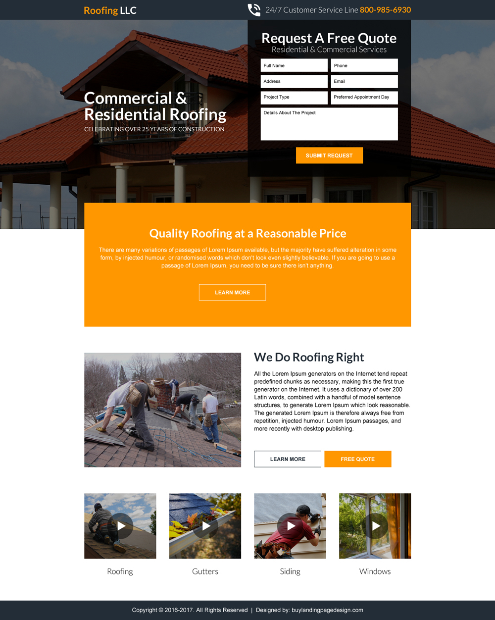 Commercial and residential roofing free quote clean landing page
