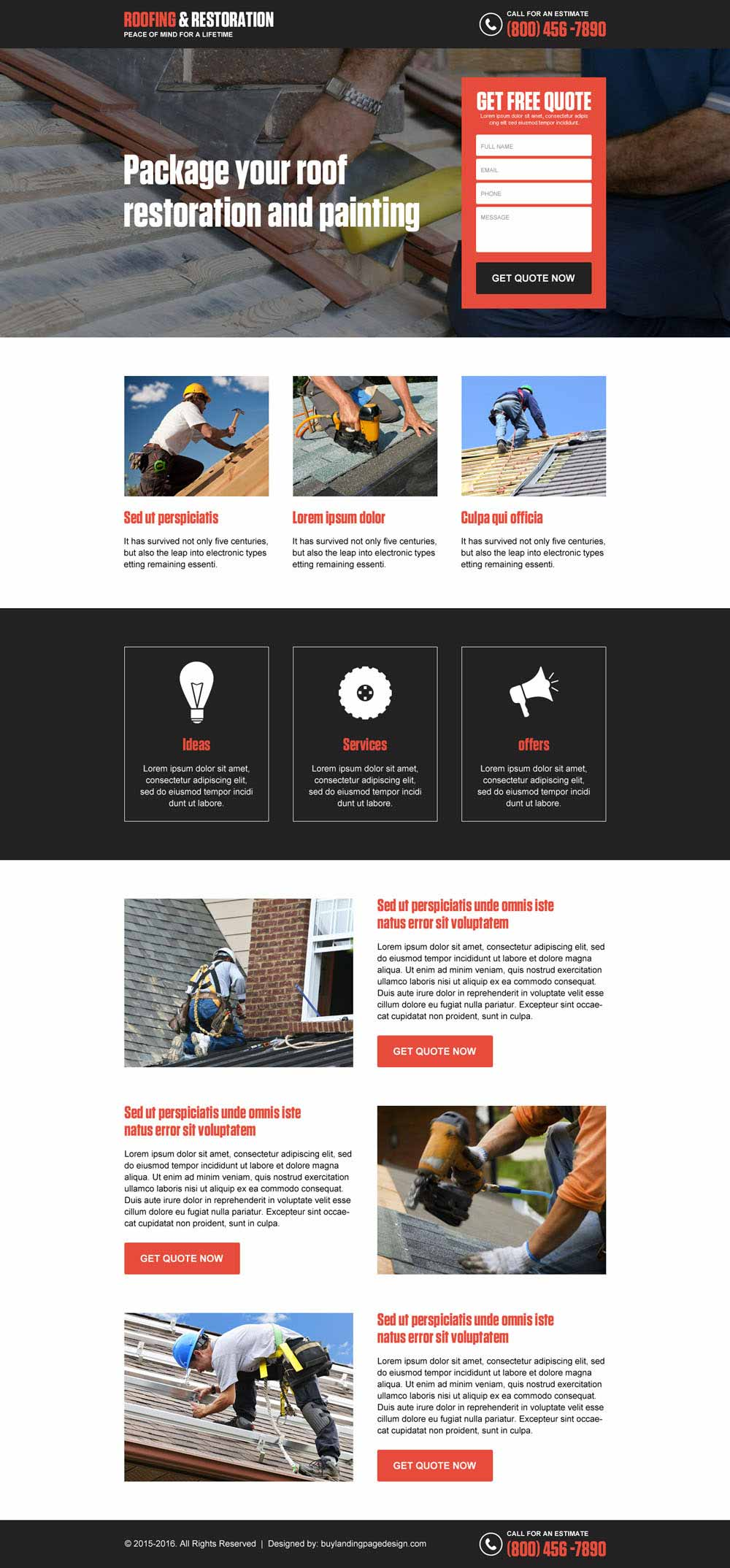 Roofing restoration and painting free quote responsive landing page