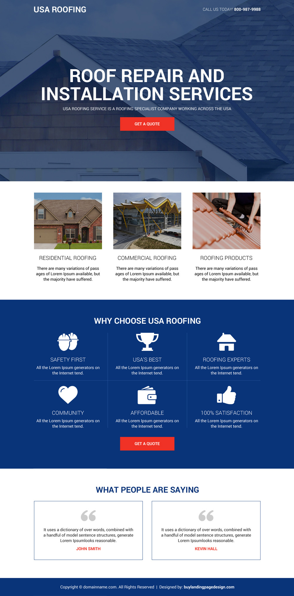 Roof repair and installation services  best landing page