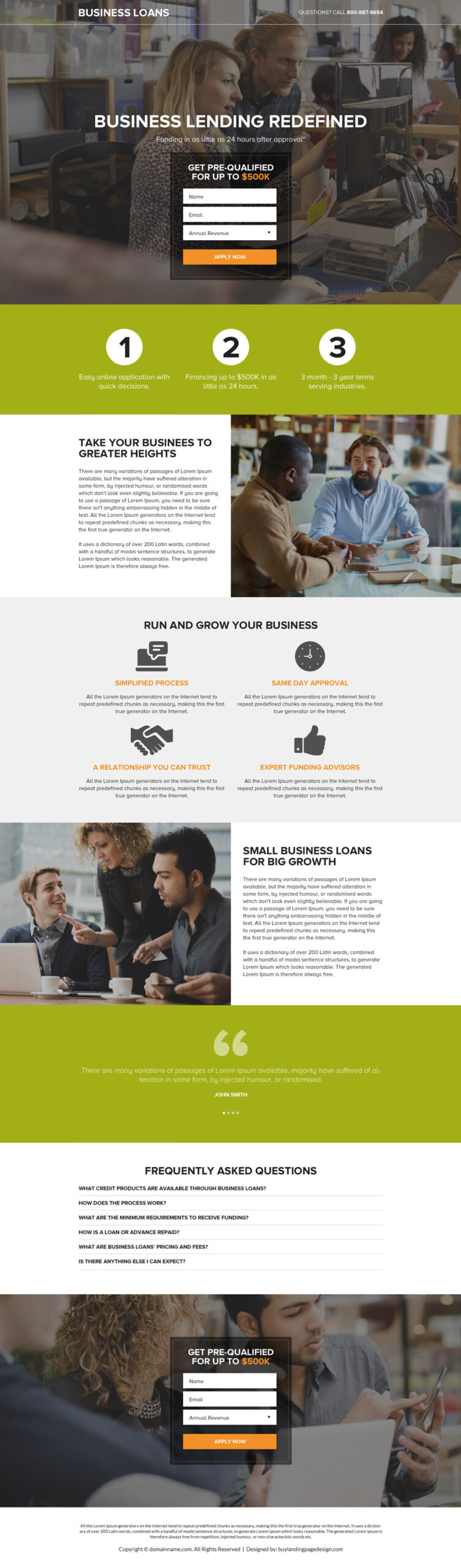 Business loan lenders landing page