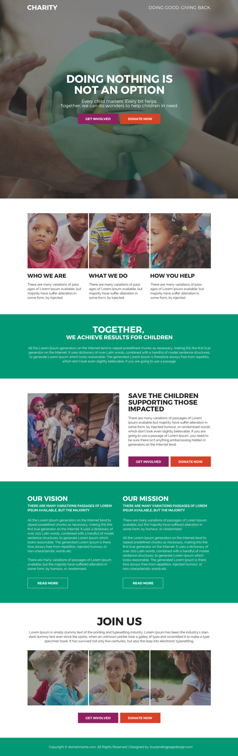 charity and donation landing page