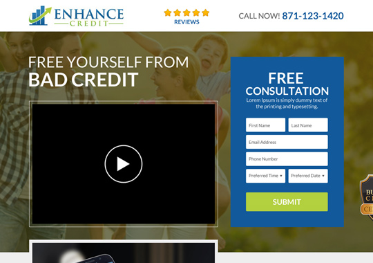 bad credit free consultation landing page