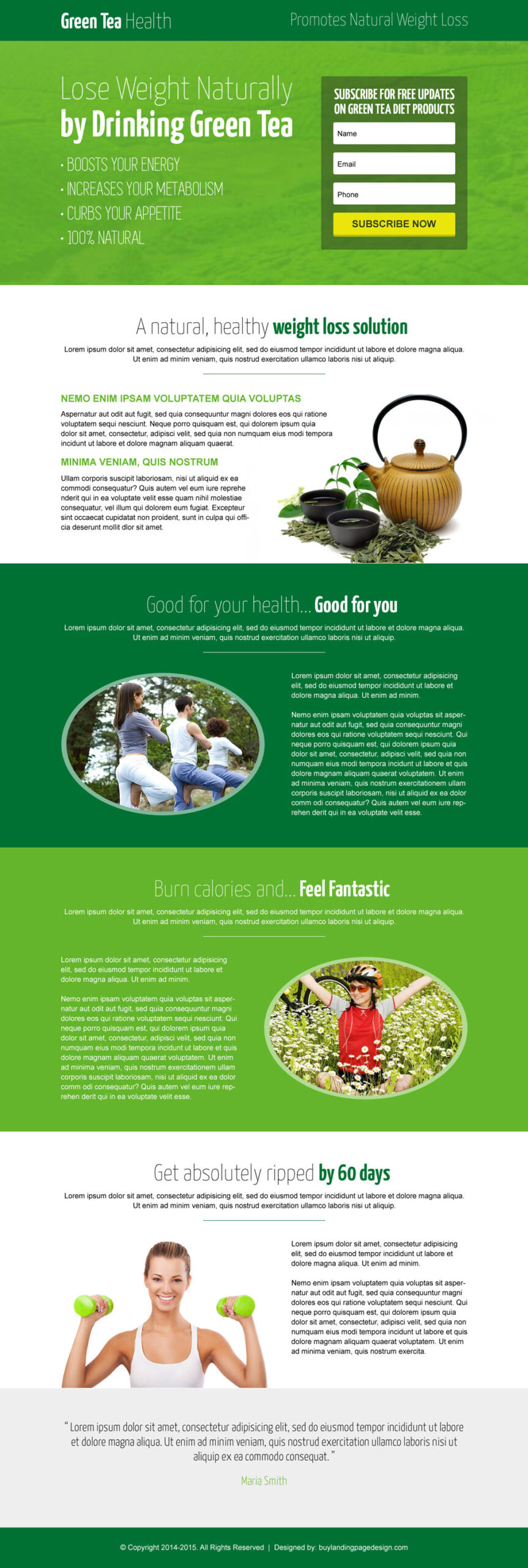 green tea natural weight loss landing page design