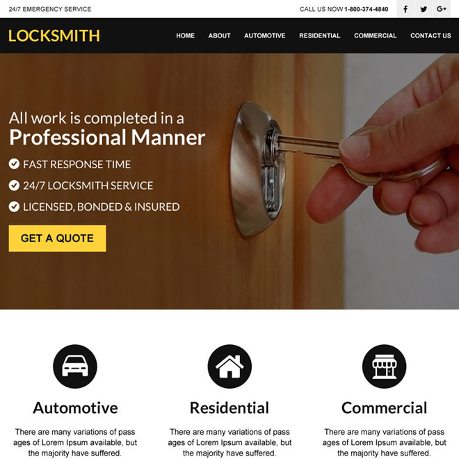 best locksmith service html website design template Locksmith example