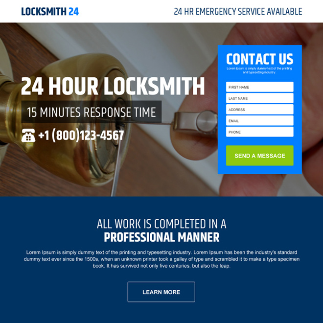 24 hours locksmith service converting landing page design Locksmith example