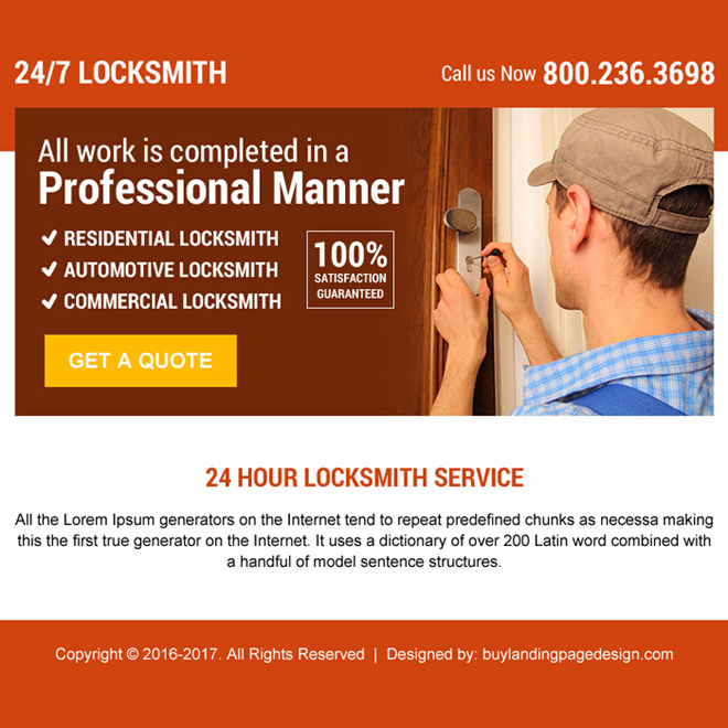 24 hour locksmith service free quote ppv landing page Locksmith example