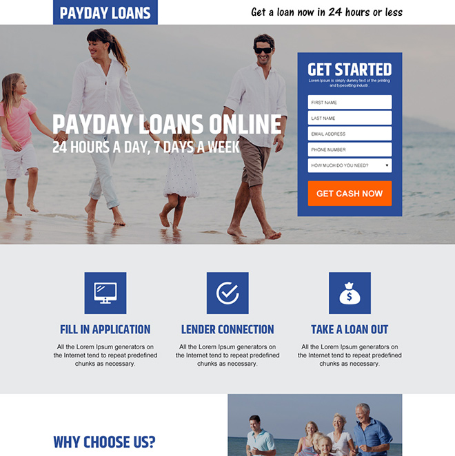 payday loan lead capture responsive landing page design Payday Loan example