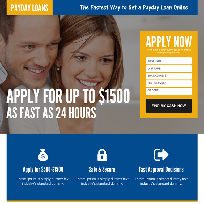 24 hours payday cash loan lead funnel mobile friendly landing page Payday Loan example