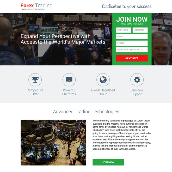 responsive forex trading brokers mini landing page design Forex Trading example