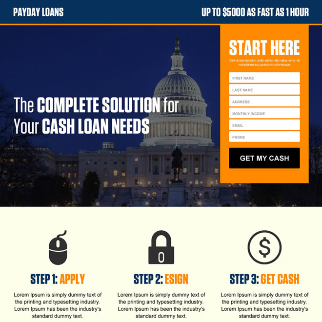 usa government payday loan responsive landing page design template Payday Loan example
