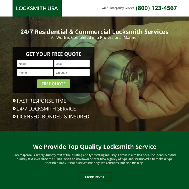 USA locksmith service lead capturing landing page design Locksmith example