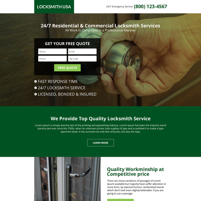 USA locksmith service responsive lead capturing landing page Locksmith example