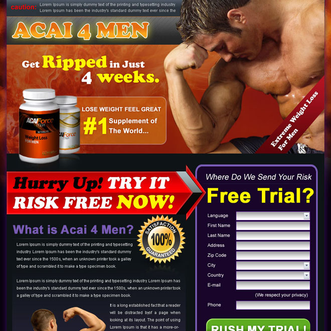 acai berry bodybuilding for man landing page design Bodybuilding example