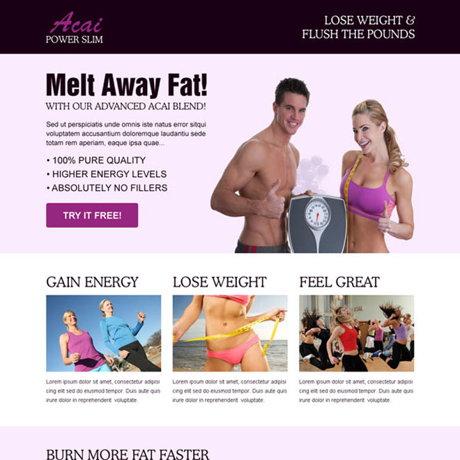 acai power slim clean responsive weight loss squeeze page design Weight Loss example