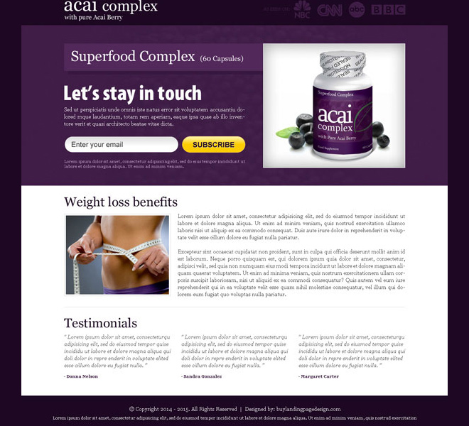 acai berry superfood complex email subscription landing page design Weight Loss example
