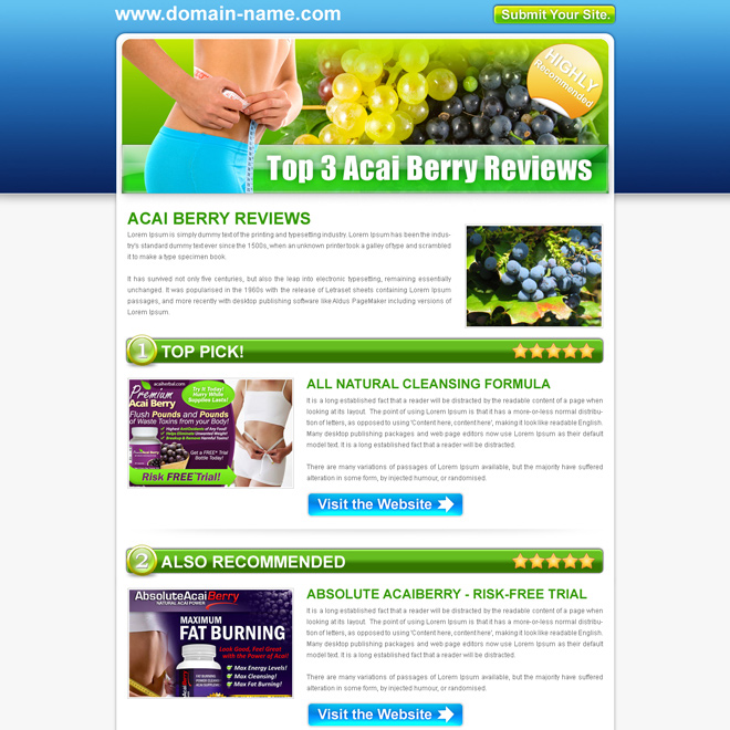 top 3 acai berry review type html converting landing page design template Landing Page Design example