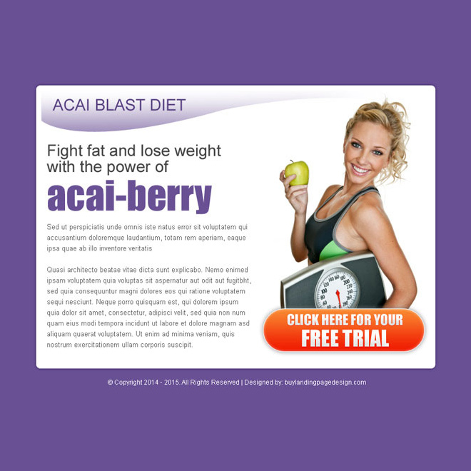 acai blast diet call to action converting ppv landing page design PPV Landing Page example