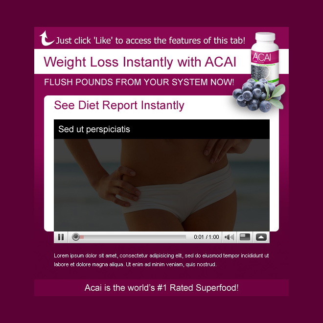 acai berry weight loss attractive and effective html templates PPV Landing Page example