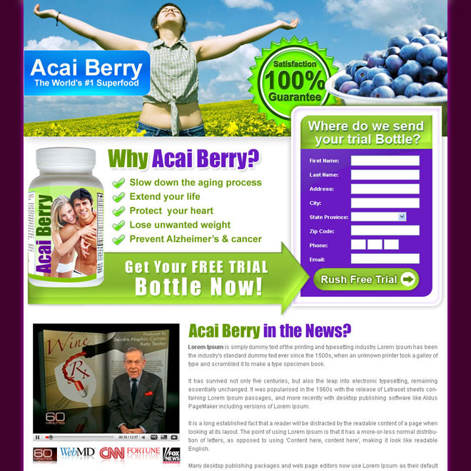 acai berry clean and converting lead capture weight loss landing page design for sale Weight Loss example