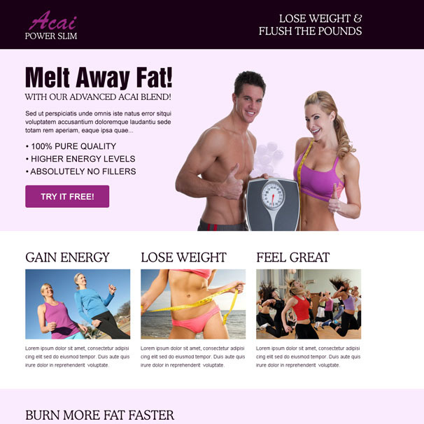 acai power slim converting effective and appealing weight loss CTA landing page Weight Loss example