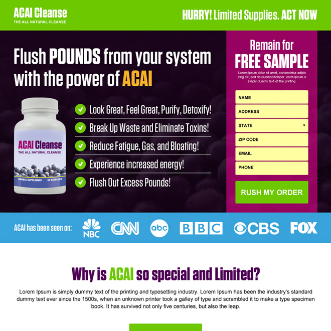 acai berry weight loss product lead magnet landing page design Weight Loss example
