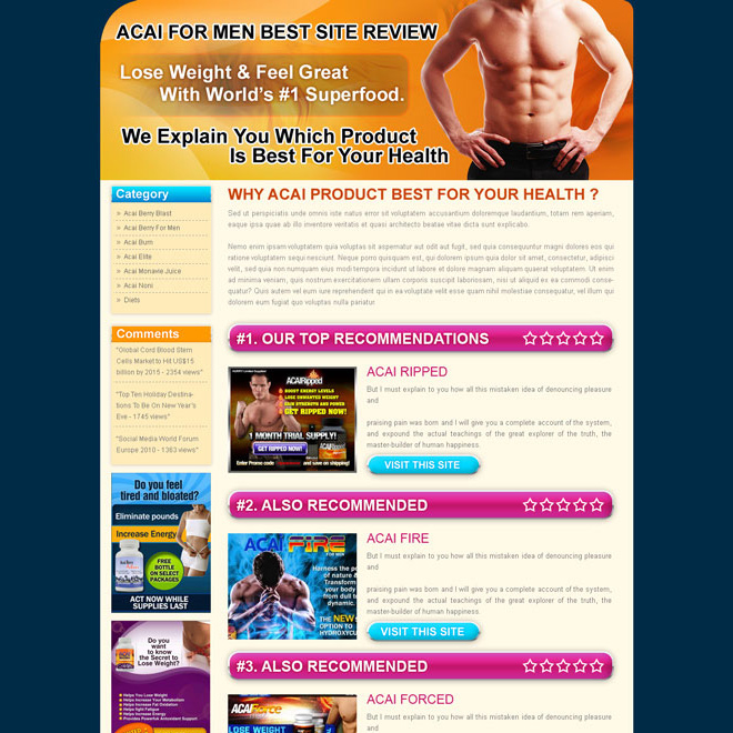 acai for men top 3 website review converting landing page design template Landing Page Design example