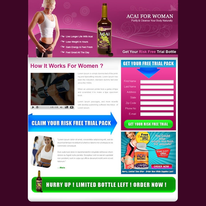 acai berry for women appealing and attractive landing page design for sale Weight Loss example