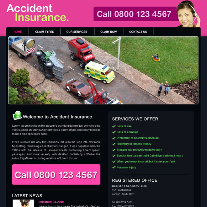 accident insurance website template design psd for sale Website Template PSD example
