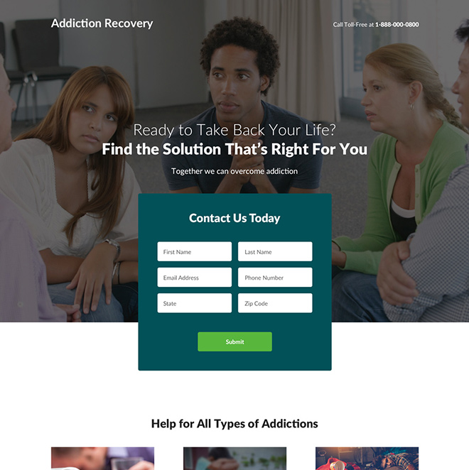 addiction recovery and treatment center landing page design Medical example