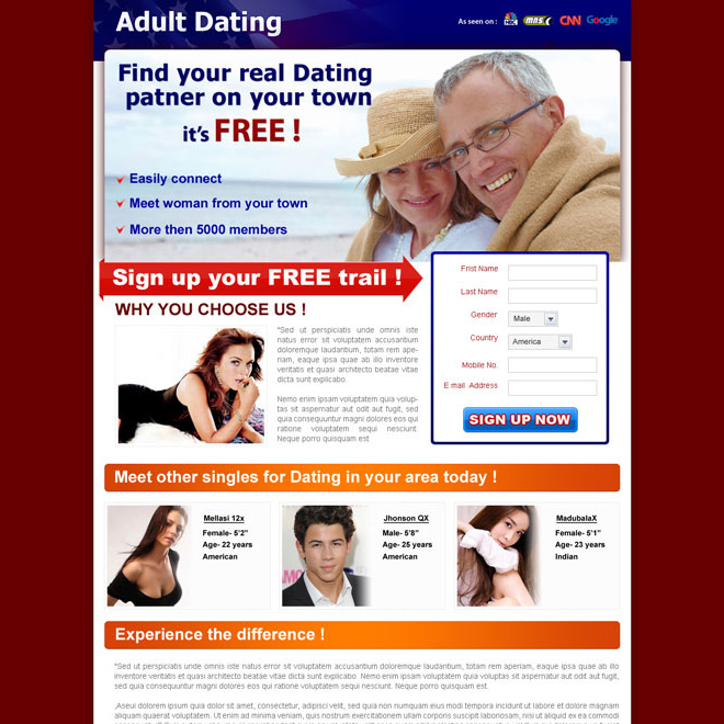 adult dating clean and converting lead capture landing page design for sale Landing Page Design example