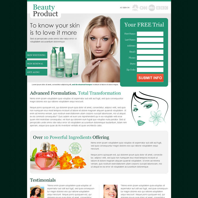 effective beauty product for your glowing skin attractive and converting landing page design Beauty Product example