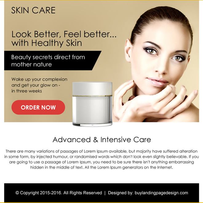 advance intensive skin care ppv landing page design Skin Care example