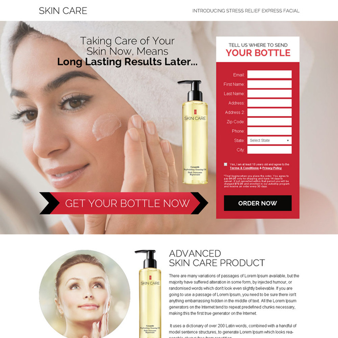 skin care product trial offering bank page design Bank Page example