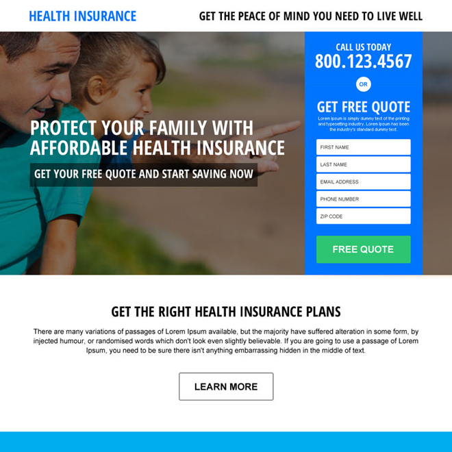 affordable health insurance quote responsive landing page design Health Insurance example