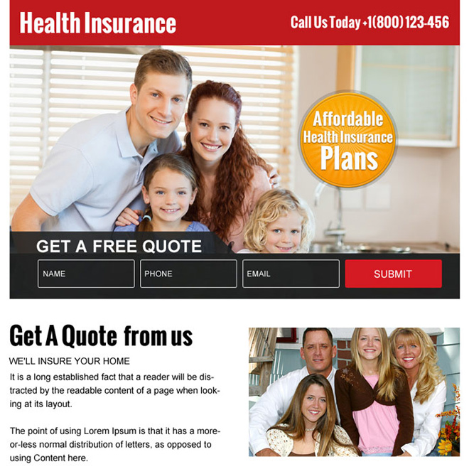 affordable health insurance plans ppv landing page Health Insurance example