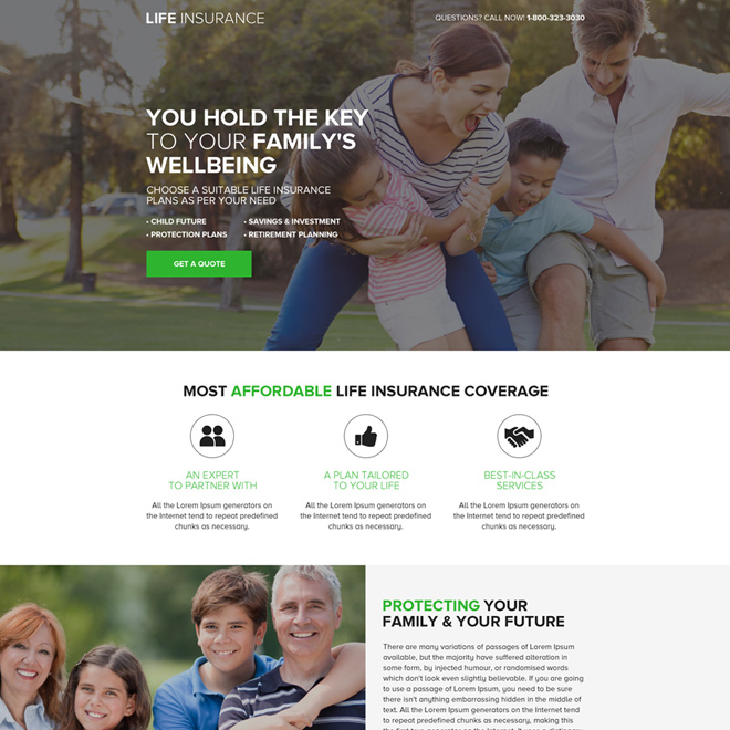 affordable life insurance coverage landing page design Life Insurance example