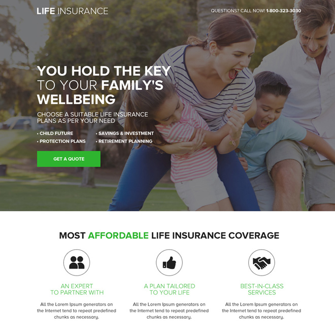 responsive life insurance quote mini landing page design Life Insurance example