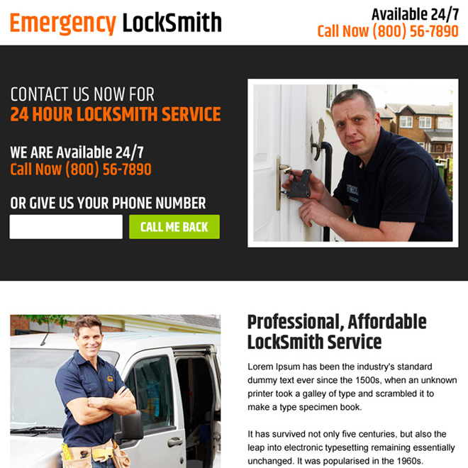 affordable locksmith services ppv landing page Locksmith example