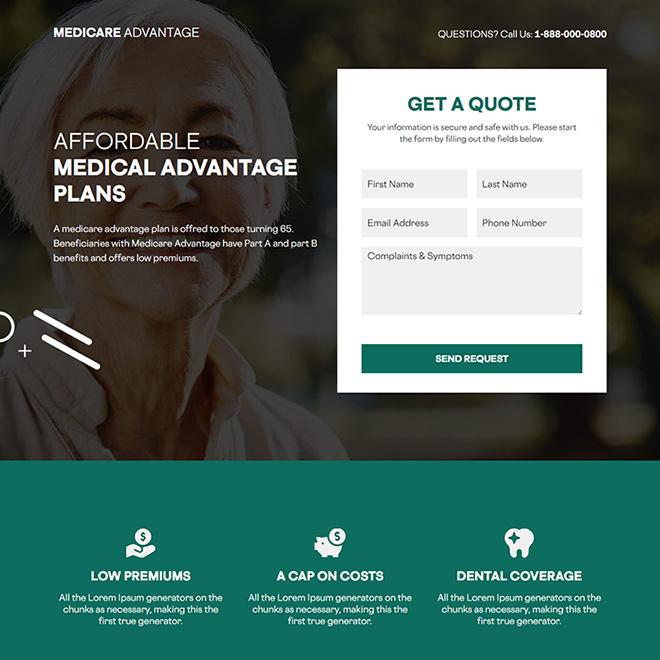 medicare advantage responsive lead capture landing page Medicare example