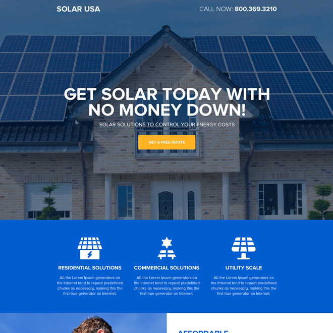 affordable solar energy landing page design Solar Energy example