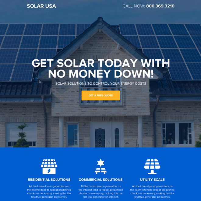 affordable solar energy responsive landing page design Solar Energy example