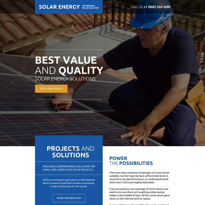 affordable solar solutions free quote landing page design Solar Energy example
