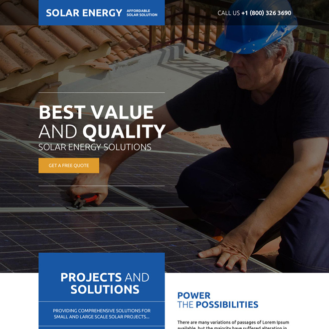 affordable solar energy solutions responsive landing page Solar Energy example