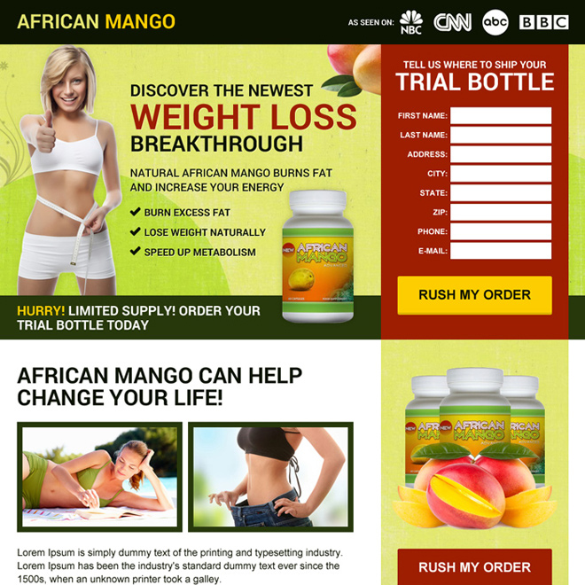 african mango weight loss pills responsive landing page design Weight Loss example