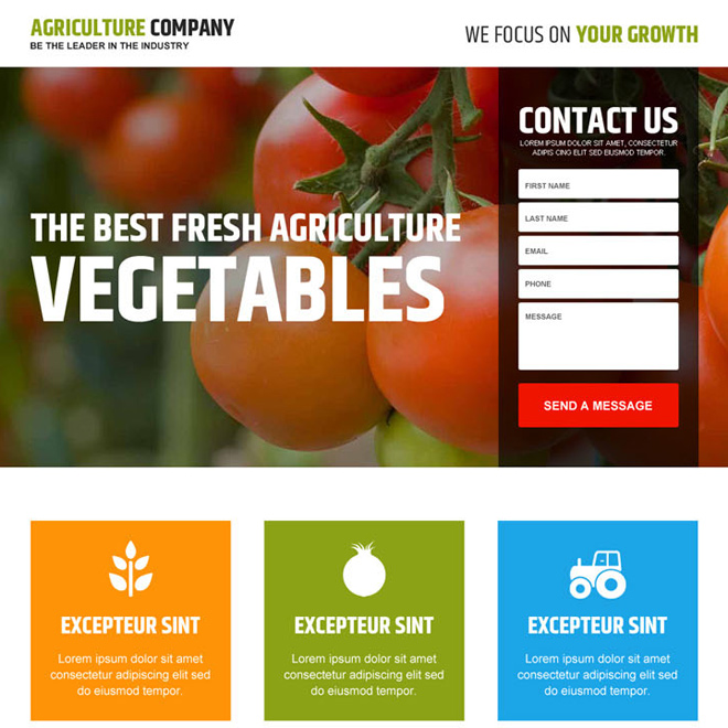 agriculture company lead generating landing page design Agriculture example