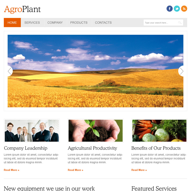 agro plant clean and minimal looking html website template design Agriculture example