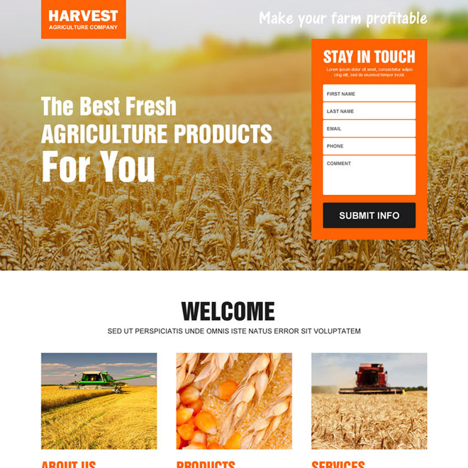 agriculture company lead capture landing page design Agriculture example